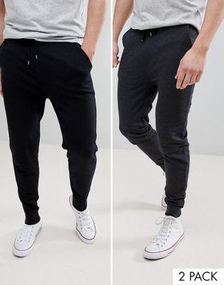 ASOS DESIGN - Set van 2 skinny joggingbroeken in zwart/antracietgrijs