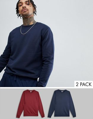 ASOS DESIGN - Set van 2 sweatshirts in marineblauw/bordeaurood