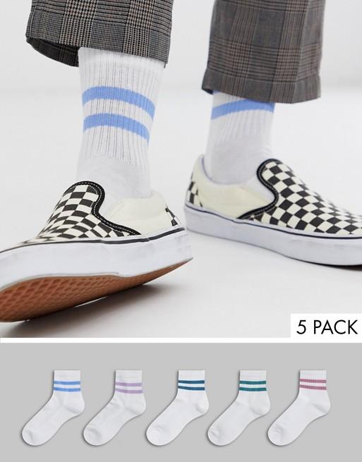 Afbeelding 1 van ASOS DESIGN - Set van 5 paar korte sportsokken in wit met roze en blauwe strepen, multipack voordeel