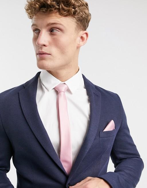 Accessoires ASOS DESIGN Set van satijnen smalle stropdas en pochet in roze
