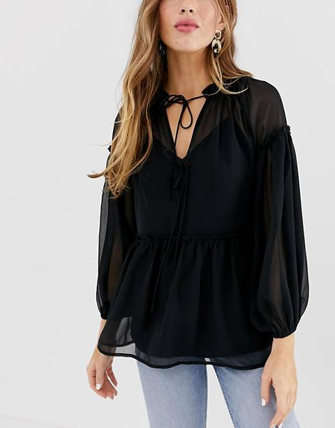 ASOS DESIGN sheer smock top with tie front