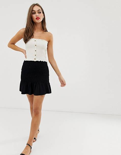 ASOS DESIGN shirred bask waist mini skirt