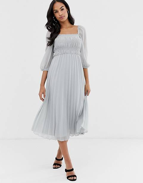 ASOS DESIGN shirred pleated midi dress