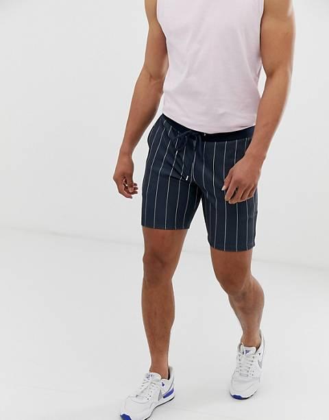 ASOS DESIGN - Short skinny court en poly-tricot à fines rayures - Bleu marine (ensemble)