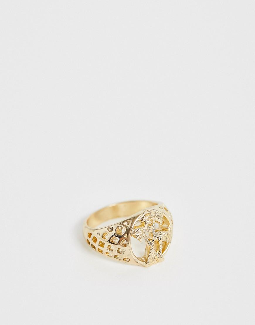 ASOS DESIGN – Siegelring mit Aussparungen und Palmen-Design in Gold   Schmuck > Ringe > Siegelringe   ASOS DESIGN