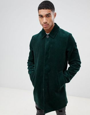 ASOS DESIGN single breasted trench coat in cord in bottle green