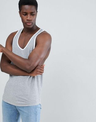 Image 1 of ASOS DESIGN singlet with extreme racer back in waffle in grey
