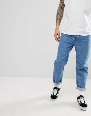 ASOS DESIGN Skater Jeans In Mid Wash Blue