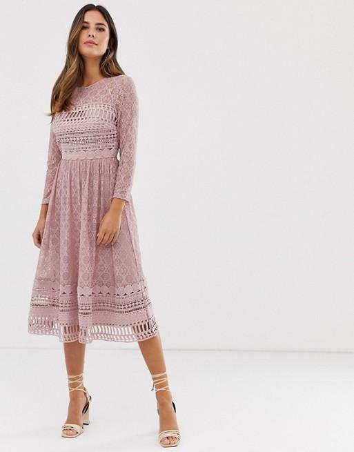 ASOS DESIGN – Skaterska sukienka midi z koronką