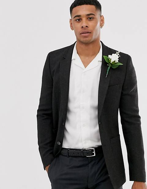 ASOS DESIGN skinny blazer in charcoal wool mix