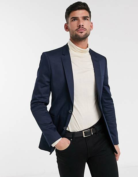 ASOS DESIGN skinny blazer in navy cotton