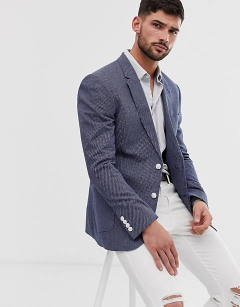 ASOS DESIGN skinny blazer with birdseye texture in blue