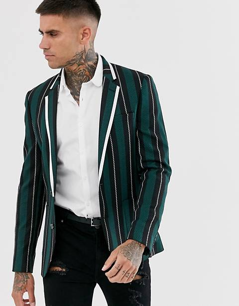 ASOS DESIGN skinny blazer with wide stripe in black