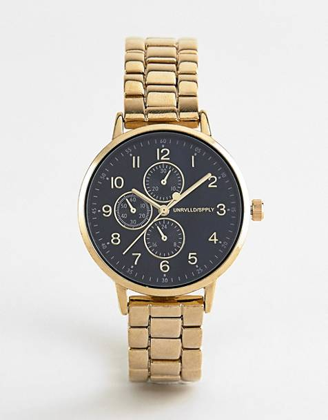 ASOS DESIGN skinny bracelet watch with sub dials in gold tone