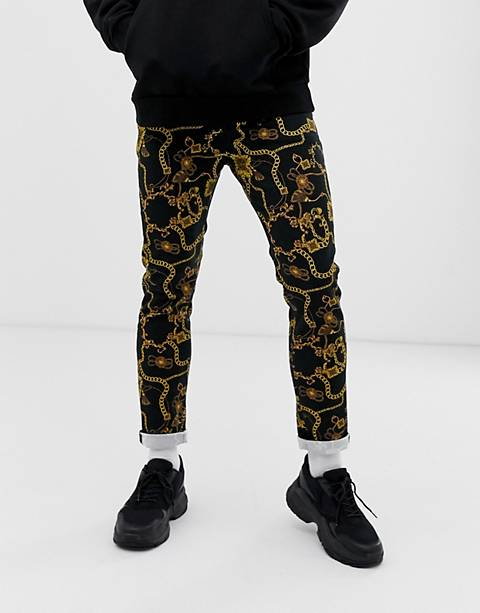 ASOS DESIGN skinny chain print jeans in black