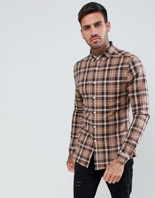 ASOS DESIGN skinny check shirt in brown