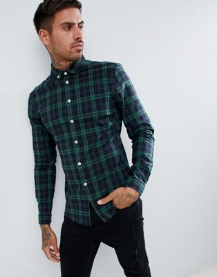 ASOS DESIGN skinny check shirt in green