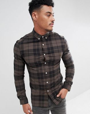 ASOS DESIGN skinny check shirt in khaki