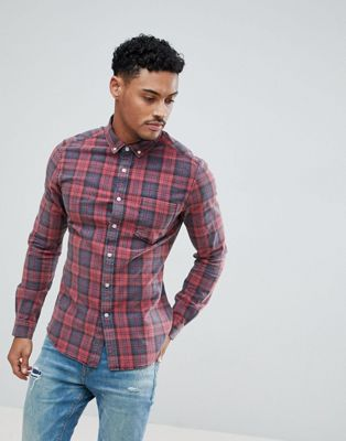 ASOS DESIGN skinny check shirt with acid wash in red