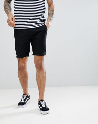 ASOS DESIGN Skinny Chino Shorts In Black