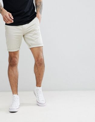 Image 1 of ASOS DESIGN Skinny Chino Shorts In Putty