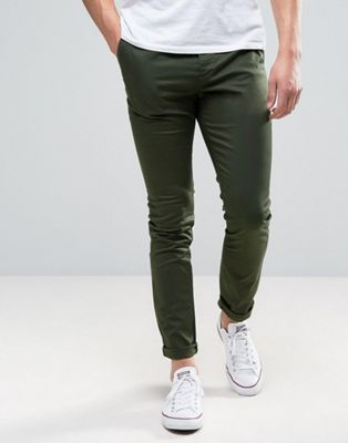 ASOS DESIGN skinny chinos in dark khaki