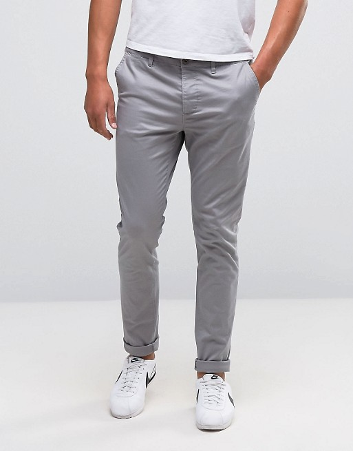 Image 1 of ASOS DESIGN skinny chinos in light gray