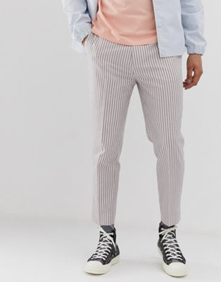 ASOS DESIGN skinny crop pants in white linen with stripe