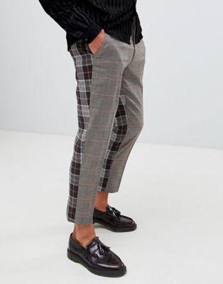 ASOS DESIGN skinny crop smart pant in brown check