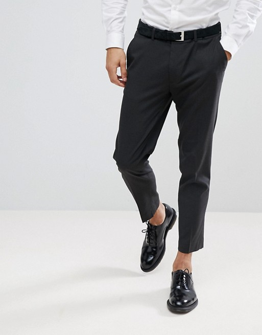 ASOS DESIGN skinny cropped smart trousers in charcoal