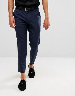 ASOS DESIGN skinny cropped smart trousers in navy