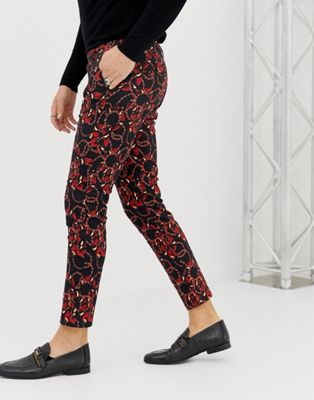 ASOS DESIGN skinny cropped trousers in baroque snake print