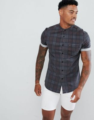 ASOS DESIGN skinny denim check shirt in grey with grandad collar