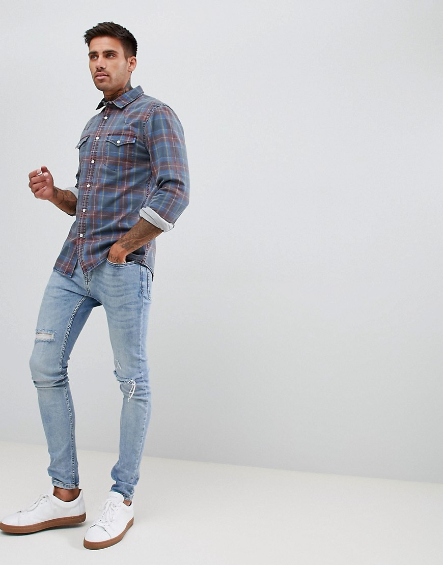 Asos Design Skinny Denim Check Shirt Western In Blue by Asos Design