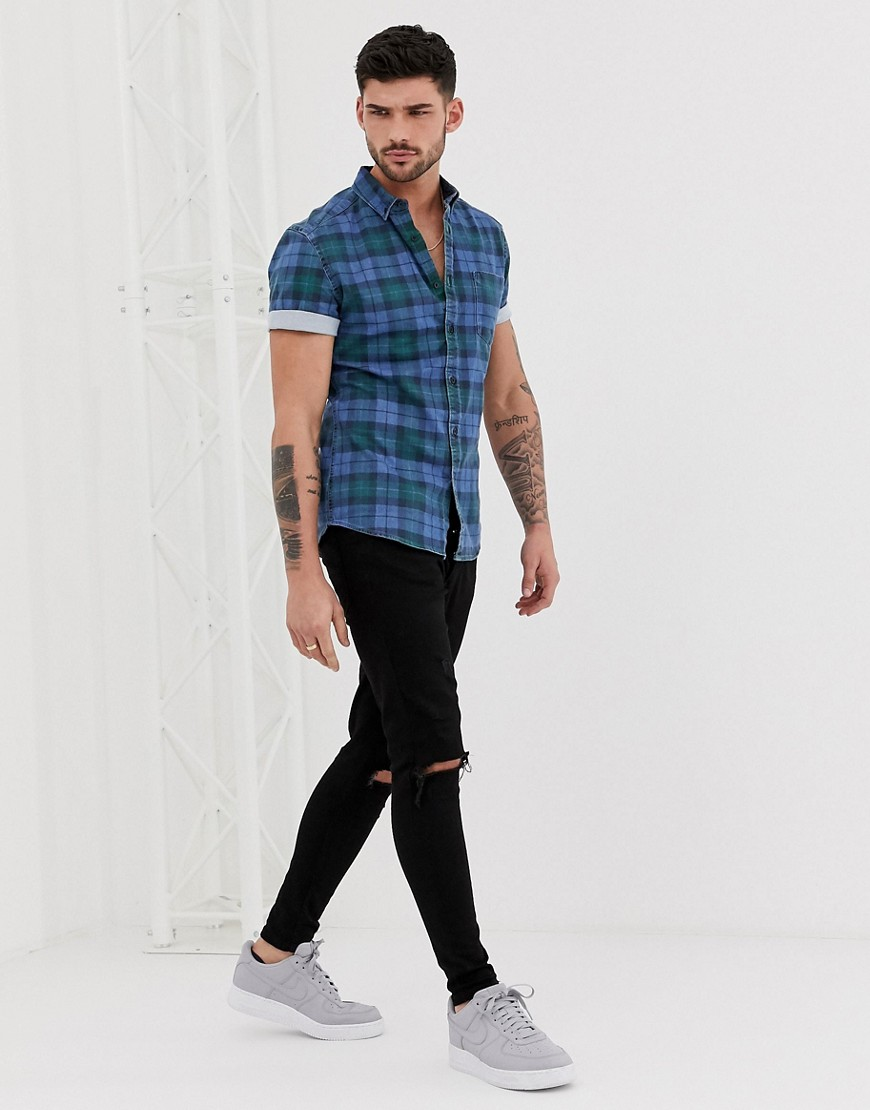 Asos Design Skinny Denim Check Shirt by Asos Design
