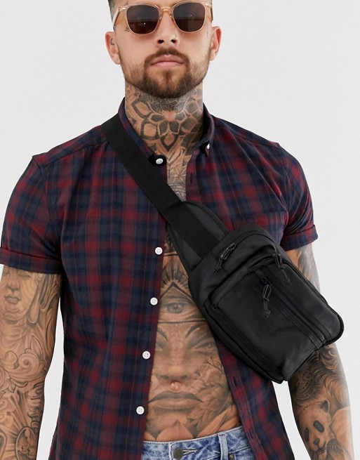 Image 1 of ASOS DESIGN skinny fit check shirt in burgundy and navy