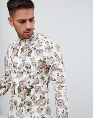 ASOS DESIGN - Skinny-fit overhemd met bloemenprint in ecru