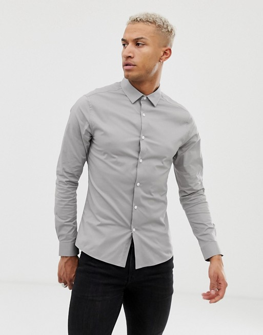 Image 1 of ASOS DESIGN skinny fit shirt in mid grey