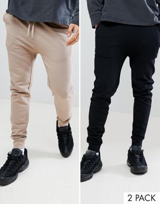 ASOS DESIGN Skinny Joggers 2 Pack Black/Beige Save