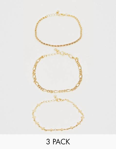 ASOS DESIGN skinny layered bracelet pack in gold tone