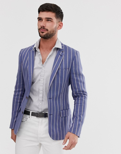 ASOS DESIGN skinny linen blazer in blue stripe