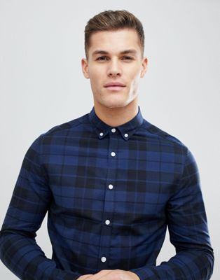 ASOS DESIGN skinny poplin check shirt in blue
