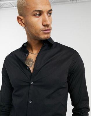 ASOS DESIGN skinny shirt in black