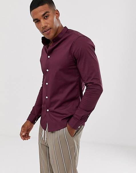b631f97d9e5 ASOS DESIGN skinny shirt in burgundy with grandad collar