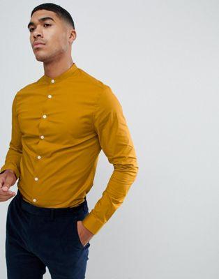 ASOS DESIGN skinny shirt in mustard with grandad collar