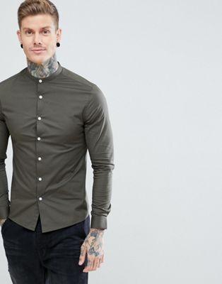 ASOS DESIGN skinny shirt with grandad collar in khaki