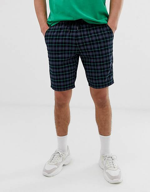 ASOS DESIGN skinny shorts in navy check