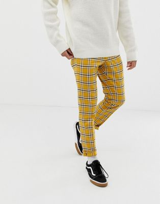 ASOS DESIGN skinny smart pant in bright yellow check with drawcord waist
