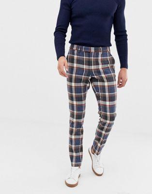 ASOS DESIGN skinny smart pants in navy heritage check