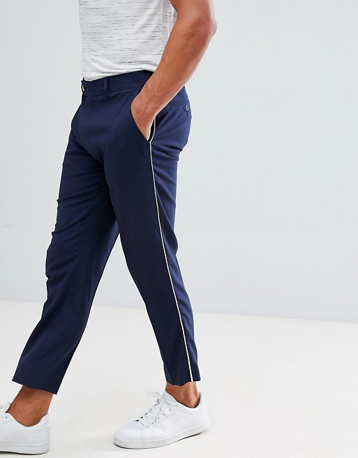 Image 1 of ASOS DESIGN skinny smart pants in navy with piping